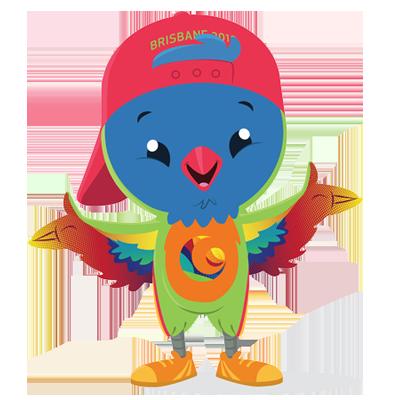 Lorri the lorikeet mascot INAS Global Games